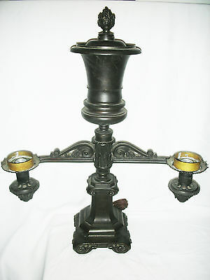 19th Century BRONZE ARGAND LAMP, Signed, Electrified