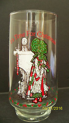 "Vintage 1970's Holly Hobbie Coca Cola Glass "" It's Time for Christmas "" Mantle"