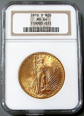 1916 S Gold $20 Saint Gaudens Double Eagle Coin Ngc Mint State 64