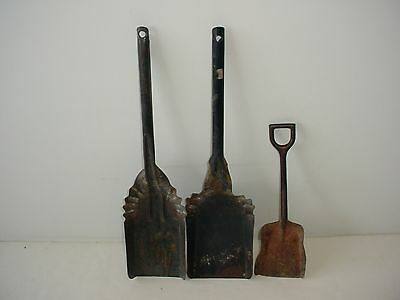 Lot of 3 Metal Hearth Fireplace Stove Coal Ash Shovel Scoop Primitive