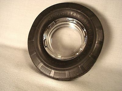 GOODRICH SILVERTOWN GOLDEN PLY Ashtray with Clear Glass Insert - 1930's