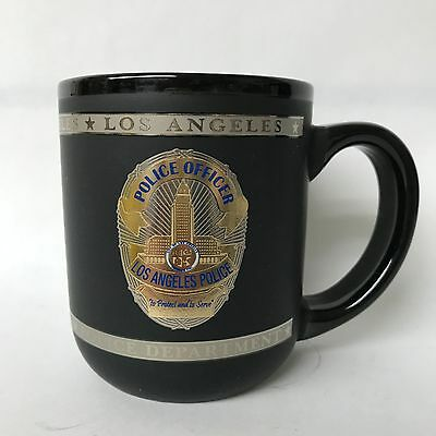 Los Angeles Police Officer Porcelain Matte Black W Accents Coffee Mug New