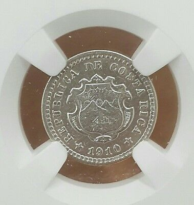 Costa Rica: 5 Centimos 1910 Km#145 Ngc Au Silver Coin