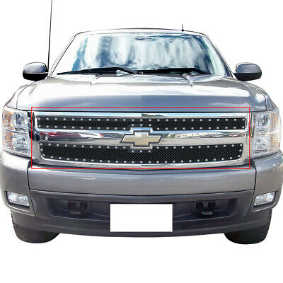 Fits 2007-2013 Chevy Silverado 1500 Stainless Steel Black Rivet Grille