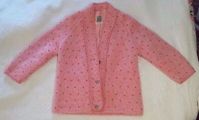 Vintage 50s 60s Strawberry Pink Mohair Cardigan Sweater EUC Size XS