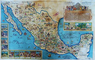 Rare Large Format Wall Size Pictorial Map of Mexico,  Artist Miguel Gomez Medina