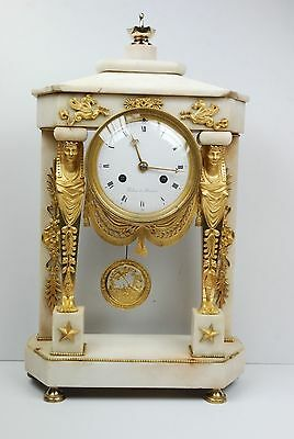 Good Quality French White Marble and Ormolu mount Portico Mantle Clock