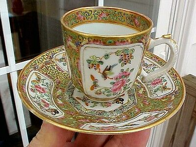 19th Century Canton Chinese Export Famille Rose Medallion DEMITASSE CUP & SAUCER