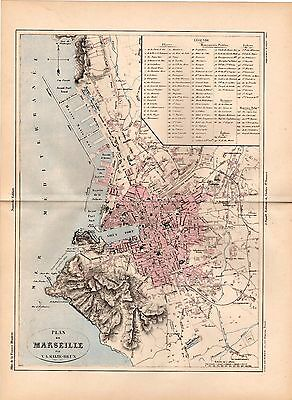 MALTE-BRUN 1890's Antique Map / Detailed City Plan of Marseille, France