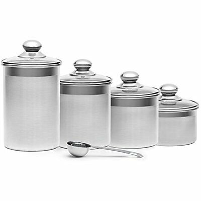 Steel 4-Piece Stainless Steel Canister Set with Scoop and Lids