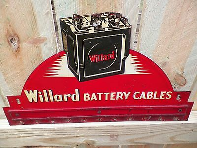 Willard Battery Cables die cut 1940's Motor Oil Gas Station Service Garage Sign