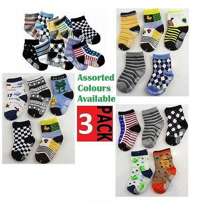 3 PACK x BABY BOYS SOCKS Sockettes Newborn Kids Cotton Anti Slip CLEARANCE SALE