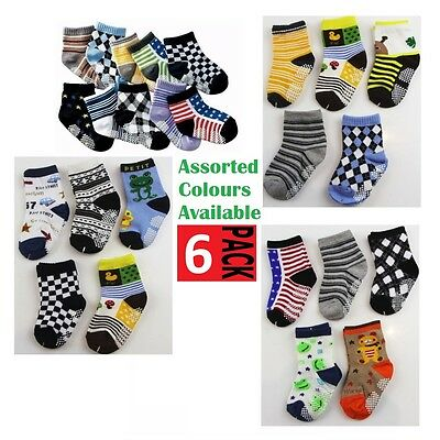 6 PACK x BABY BOYS SOCKS Sockettes Newborn Kids Cotton Anti Slip CLEARANCE SALE