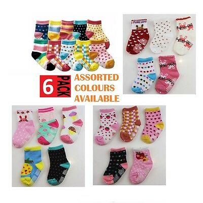6 PACK x BABY GIRLS SOCKS Sockettes Newborn Kid Cotton Anti Slip CLEARANCE SALE