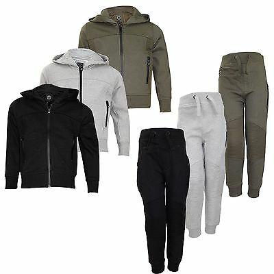 New Kids TrackSuit Patterened Hoodie Set Jogging Bottom Lined Hood Zipper Top