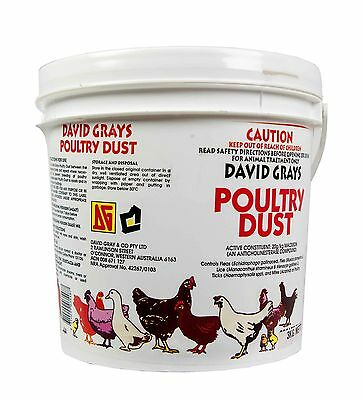 Poultry Dust 3kg David Grays Maldison Lice Fleas Feather Mites Ticks Pest Chook