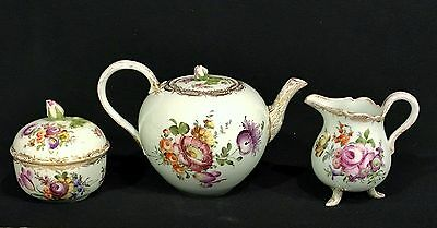 19th c. MEISSEN German Porcelain FLORAL & GILT 3 pc TEA SET Teapot Sugar Creamer