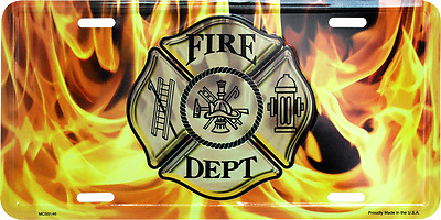 Fire Fighter Department Flames License Plate 6x12 Tag black yellow made in usa