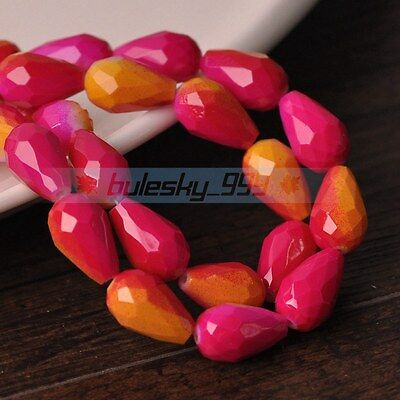 30pcs 12X8mm Teardrop Faceted Loose Glass Spacer Colorful Beads Rose&Yellow