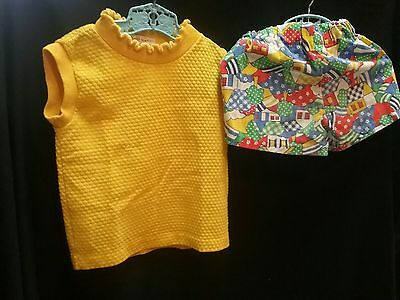 Vintage 1950s 60s HEALTH-TEX shirt blouse shorts girls outfit sz 1 2 3 summer
