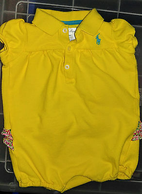 Infants baby girl Ralph Lauren Polo yellow romper outfit size 6 months