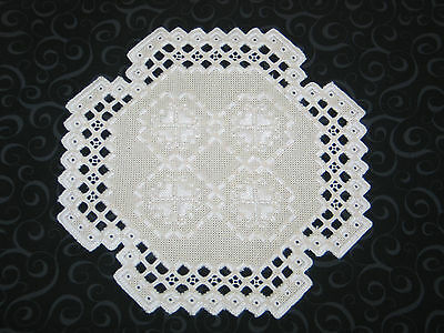 Stunning Antique Norwegian Hand Embroidered Hardanger Lace Table Doily