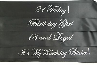 BIRTHDAY SASH - BLACK & SILVER - 18th 21st - 18 and Legal - Girl - Bitches