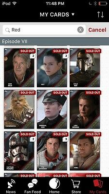 Topps Star Wars Digital Card Trader Red 12 Card FA Portraits Insert Set