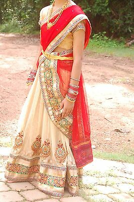 @@@ Gorgeous Stitched Wedding Lehenga Choli Size S Red Beige Girls
