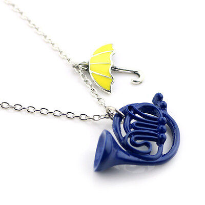 How I Met Your Mother Yellow Umbrella/Blue French Horn Necklace Pendant Gift