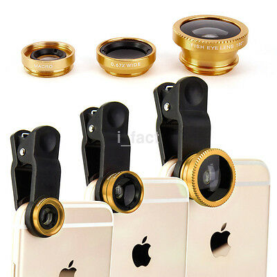 Useful 3in1 Fish Eye + Wide Angle + Macro Lens Camera Clip Gold for Cell Phone
