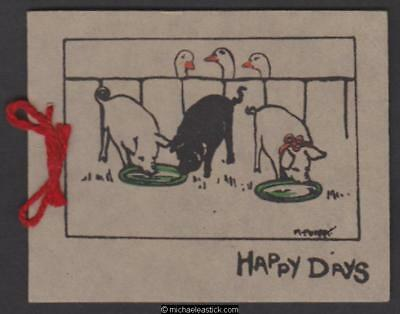 Greeting Card, Pigs and Geese, 1929