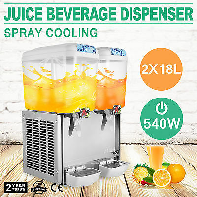 2x18L JUICE BEVERAGE DISPENSER COLD DRINK 9.5 GALLON REFRIGERATED COMMERCIAL