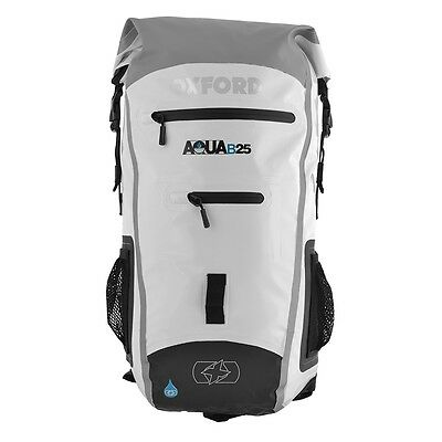 Oxford AQUA B25 Motorcycle Scooter All Weather Waterproof BackPack - WHITE/GREY