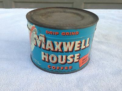Vintage 40s 50s MAXWELL HOUSE Coffee Can Tin Metal Unopened 1 Lb. Sealed
