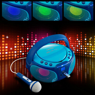 Karaoke Party Musik Anlage Farbwechsel USB HiFi Stereo Toplader Mikrofon Lenco