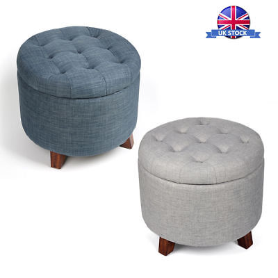 Soft Round Footstool Storage Ottoman Stool with Button Tufted Top & Wooden Feet