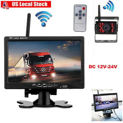"HD RV Bus Truck Wireless IR Night Vision Backup Rear View Camera +7"" LCD Monitor"