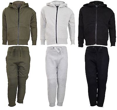 New Kids Track Suit Set Patterened Hoodie Jogging Bottom Lined Hood Zipper Top