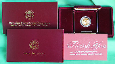 1995 W Proof Olympic Stadium $5 Gold Coin With Box Bald Eagle