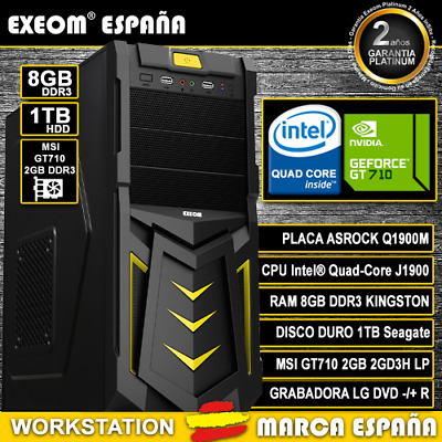 ORDENADOR PC GAMING INTEL QUAD CORE 9,6GHz 8GB RAM 1TB HD ASUS GT710 2GB DDR3