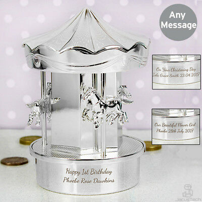 PERSONALISED Carousel Money Box. ENGRAVED Christening Birthday Newborn Baby Gift