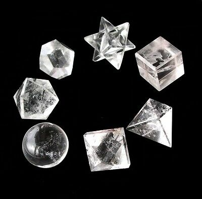 7 Rock Quartz Platonic Solids Sacred Geometry Crystal Healing With Gift Box Pack