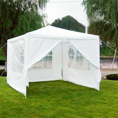 Outdoor 10'x10' White Canopy Party Wedding Tent Gazebo Pavilion Removable Walls