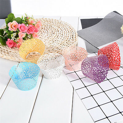 50x Lace Laser Cut Cupcake Paper Wrappers Cake Baking Cups Wedding Party Decor