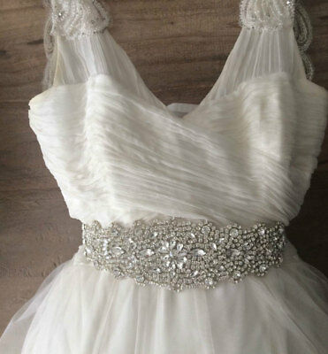 PALOMA Rhinestone Crystal Diamante Bridal Sash Wedding Belt Any Colour Ribbon