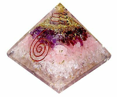 Extra Large Amethyst Rose Orgonite (70-75mm)  Orgone  Gemstone Pyramid x-large