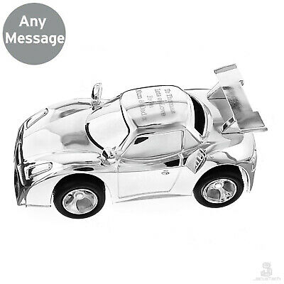 PERSONALISED Car Money Box. ENGRAVED, Silver. Christening Gift Baptism New Baby