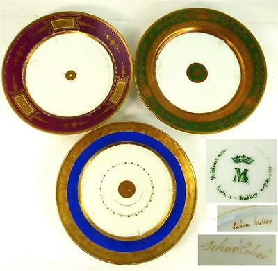 C1800 Three Antique Paris Porcelain Gilded Plates Schoelcher Lebon Halley