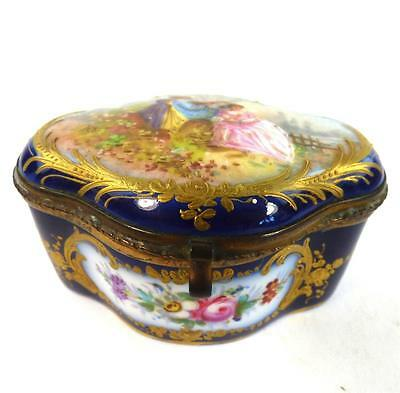 Antique 19Th Century Sevres Style Porcelain Casket Hand Painted Gilt Enamel